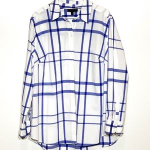 Lane Bryant Blue and White Plaid Blouse Size -20